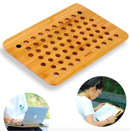 desk book holder 2019 - Wooden Laptop Holder Tray Desk Pad Writing Reading Book Holder Pad Wood Notebook Cooling School Office Supplies car chea
