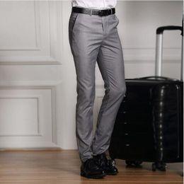 $enCountryForm.capitalKeyWord Australia - 2019 Formal Wedding Men Suit Pants Slim Pure Cotton Casual Brand Business Blazer Straight Dress Trousers High-grade Male S-xxxl Y190417