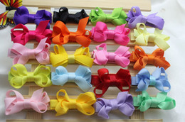 Color Alligator Hair Clips Australia - 60pcs baby Girl 2inch mini Hair Bow clip with all wrapped ribbon clips High Quality Ribbon Lined Alligator clip Hairpin FJ3232