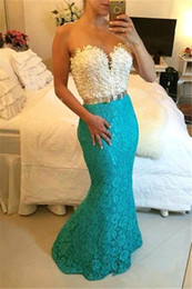 Two Tone evening gowns online shopping - Lace Evening Dresses Strapless Sweetheart Neckline Two Tone Pearl with Belt Formal Occasion Wear Floor Length Long Party Gown
