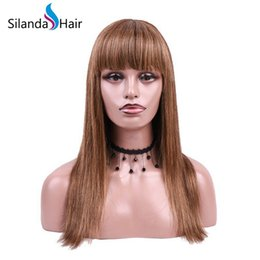 China Silanda Hair Top Seller Piano Color #4 27 Straight Remy Brazilian Human Hair Lace Front Full Lace Wigs Free Shipping cheap piano color wig suppliers