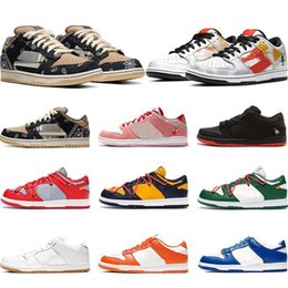 casual shoes low sneakers NZ - Cheaps SB Dunk Low Luxury Designer Skateboard Shoes Travis Scottss Men Women Sneaker White Orange Green Casual Shoes Sports Chaussures 36-45