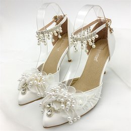 Downton Handmade Pearls flower ankle straps Wedding Shoes Bridal Shoes  bridesmaid heels Prom Party Pump heels 5cm size 34-41 65c1c717c006