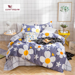 white duvet cover red flowers 2019 - SlowDream Flower Bedspread Duvet Cover Set Flat Sheet Pillowcase Complete Set Bed Cover Decor Home Textiles Bedclothes B