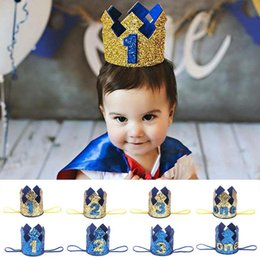 Wholesale 2019 Years Old Birthday Hat Baby Shower Decorative Headband Children s Party Crown Hat Blue Gold