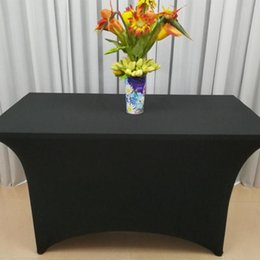 bar tables black NZ - New 4ft Black StretchTable Cloth Bar Linen Tablecloth Elastic Stretch Spandex Rectangular Long Table Cover for Wedding Party