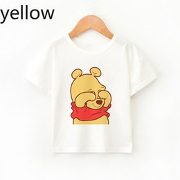 Discount girls kids t shirt design Baby Bear New Arrival Baby Summer Top Cute Boys Girl T-shirts Fun Design Fashion Children's Clothing Round Neck Whi