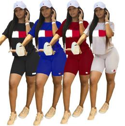 Xl Womens Leggings Australia - Summer Designer Tracksuit Womens Two piece set T shirt +Shorts leggings brand outfit Bodysuit TM letter print woman Sportswear A52108