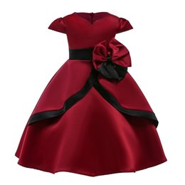 $enCountryForm.capitalKeyWord UK - Vintage Burgundy Flower Girls Dresses Short Sleeves Ball Gown A line Knee Length Layers with Bow Belt Formal Prom Party Dress for Kids