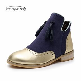 $enCountryForm.capitalKeyWord Australia - Genuine cow Leather women Ankle winter Boots Comfortable quality soft Shoes Brand Designer Handmade gold blue with fur