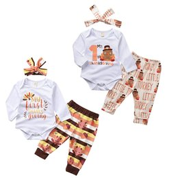 Discount baby turkeys - Thanksgiving Autumn baby rompers outfits set tops+pant+headhand 3pcs set letter printing turkey hot Harbin kids jumpsuit