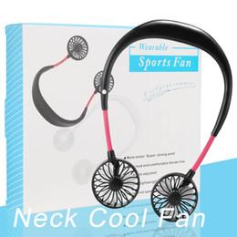 Venta al por mayor de Colgando del cuello del ventilador USB recargable de banda para el cuello Lazy cuello de manos libres colgando de refrigeración dual mini ventilador Sport 360 grados de rotación