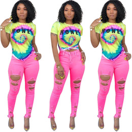 273348cf S-3XL Color Tie-dye Women T-shirts tops Trendy Rainbow color Letters Short  Sleeve crop Top girls vest tshirt streetwear plus size A42507