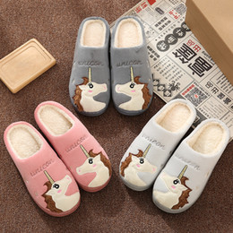 $enCountryForm.capitalKeyWord NZ - Cute Unicorn Women Winter Home Slippers Cartoon Embroidery Soft Warm House Shoes Men Women Boys Girls Indoor Bedroom Slippers