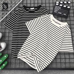 6e826514902 Harajuku Ulzzang Bf Striped Fashion 2018 New Short Sleeve T Shirts Women  Loose T-shirt Womens Female Casual Females Korean