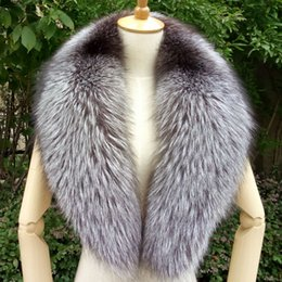 Black Fur Scarves Australia - 100cm Real Fox Fur Collar Black Fur Scarf Natural Raccoon Silver Fox Scarves Women Winter Warm Thick Long Genuine Scarf