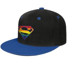 Superman flat cap online shopping - Superman Rainbow Pride Logo Blue mens and womens hip hop flat brim cap cool designer custom design your own fashion baseball team best pers