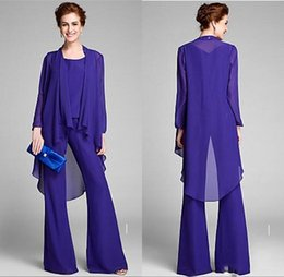 $enCountryForm.capitalKeyWord Australia - New Arrival 3-Piece Purple Chiffon Mother of The Bride Pant Suits Long Sleeves With Jacket Formal Party Gowns Plus Size Evening Dresses