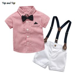 Striped Clothing Australia - Baby Boy Gentleman Clothes Set Summer Suit For Toddler Striped Shirt With Bow Tie+suspenders White Shorts Formal Boys Clothes J190521