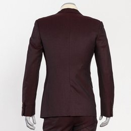 $enCountryForm.capitalKeyWord Australia - Men's 3 Piece 2 Button Flat Collar Slim Burgundy Suits For Formal Business Occasion Can Custom Made Men Suits