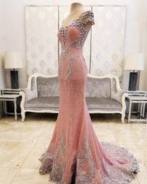 $enCountryForm.capitalKeyWord Australia - Lace Crystals Beaded Pink Prom Dresses Sheer Neck Mermaid Back Covered Buttons Sweep Train Saudi Arabia Evening Party Prom Dresses