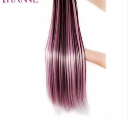 """$enCountryForm.capitalKeyWord NZ - Hanne 24"""" 60cm 5 Clips Straight Mixed Brown And Blue Or Green Or Pink Synthetic Pieces Clip-in One Piece Hair Extensions"""