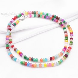 a2788a5b867b Nueva Multi Beads Gargantilla Collar Declaración Mujeres de Piedra Natural  Jades Collare Cadena Collares 2x4mm Abacus Torque Joyería 18