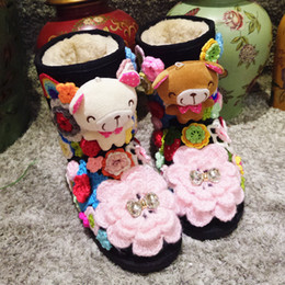 Discount japanese crochet - Winter 2018 New Sweet and Lovely Japanese Handmade Crocheted Cotton Leather Thick Bottom with High School Snow Boots