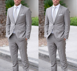 $enCountryForm.capitalKeyWord Australia - Elegant Gray Two Pieces(Jacket+Pants) Mens Suits Blazer Tuxedos For Wedding Prom Evening Party Bridegroom Best Men Suits Business Men Wear