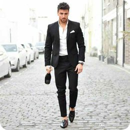 Designing Suits Australia - Latest Coat Pants Designs Black Men Business Suits Casual Groom Wedding Tuxedos Man Blazers 2Piece Groomsmen Suit Slim Fit Costume Homme