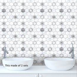 Tiles Design For Kitchen Wall Australia - 15*15cm 20*20cm PVC Waterproof Self adhesive Gray White Tiles Sticker Mural Furniture Kitchen DIY Art Vinyl Decal Living Room Decoration