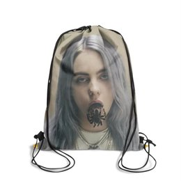 string bow tie NZ - Drawstring Sports Backpack Billie Eilish vintage durable pull string Pull String Backpack