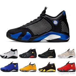 gold candy boxes UK - New 14 14s Candy Cane Black Toe Fusion Varsity Red Suede Men Basketball Shoes Last Shot Thunder Black Yellow DMP Sneakers With Box