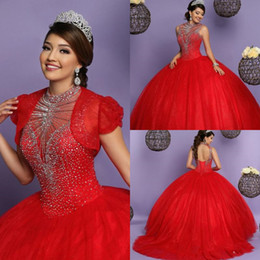 full open back prom dress Australia - 2020 ball gowns red quinceanera dresses with jacket high neck beaded top puffy full length open back prom evening dress lace up gown