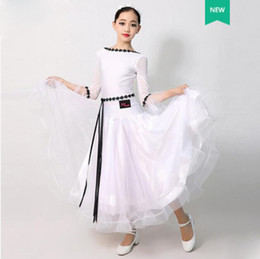 Wholesale classical dance dresses resale online - Standard Ballroom Dance Dresses Children White Long Sleeve Waltz Competition Dancing Skirt Girl s Classical Dance Dress