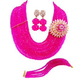 $enCountryForm.capitalKeyWord Australia - Fuchsia Pink African Beads Jewelry Set Crystal Statement Necklace Nigerian Wedding Bridal Party Jewelry Sets 10DSK08