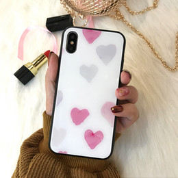 pink border iphone 2019 - Love Mirror Glass Phone Cases Fresh INS For Iphone Xs Max TPU Soft Border Cell Phone Case For Iphone 6 7 8 Plus discount