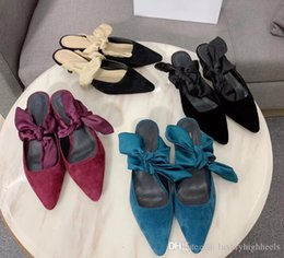 Pointy flats shoes online shopping - Luxury stilettos pointy cat toe slippers butterfly shoe knot loonie simple wind sheet low heel muller outside wearing pointy flat
