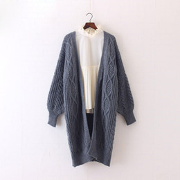 Wholesale oversized long cardigan for sale - Group buy Winter Autumn Long Female Cardigans Latern Sleeve Casual Knitted Poncho Sweaters Oversized Long Cardigans Korean Sueter