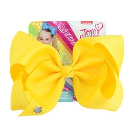 Color Alligator Hair Clips Australia - Jojo Siwa Accessory Solid Color 8 Inch Large Hair Bow Handmade Ribbed Ribbon Bow With Alligator Clip Children hair accessories