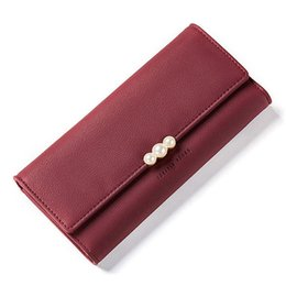 Purses Pearl UK - Pearl Element Women Wallets Credit Card Purse Cell Phone Pocket Ladies Clutch Bag Red Soft Leather Long Female Wallet Carteira