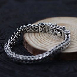 old silver chains NZ - S925 sterling silver body keel to make old flat chain Thai silver woven men's domineering personality bracelet retro style KKA4775
