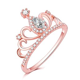Discount white christmas rose - 2019 High quality wholesale rose gold water drop diamond wedding crown ring Austria zircon ring Christmas gift for women
