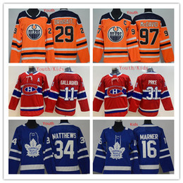 kids maple leaf jersey NZ - Youth Edmonton Oilers Jerseys 97 Connor McDavid Jersey Toronto maple leafs Montreal Canadiens 16 Mitchell Marner 31 Carey Price Kids Jerseys