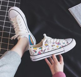 hand painted shoes canvas white UK - 2020 summer new Korean version of the rainbow unicorn canvas shoes female fashion casual comfortable wild trend hand-painted student cloth s