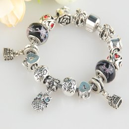 best gifts for family Australia - Fashion Vintage Jewelry Silver Plated Owl Charm Bracelet&Bangles Black Murano Glass&Crystal Beads Bracelet with Link for Family Best Gift