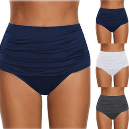 Wholesale swimming suit bottoms for sale – plus size Women s High Waisted Swim Bottom Ruched Bikini Tankini Swimsuit Briefs Summer Beach Bathing Suits Female Biquini YJ