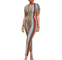 Novelty Print Tights UK - Women jumpsuit summer new style, fashionable national style, digital printing, sexy, tight, short sleeve
