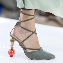 $enCountryForm.capitalKeyWord Australia - 2019 New Summer Women High Heels Sexy Pointed Toe European Cross-tied Woman Sandals J Letter Strange Heel Lace-up Pumps Open Toe
