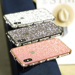$enCountryForm.capitalKeyWord NZ - Fashion For women Girl Bling Diamond Metal Bumper Case Back Glitter Sticker For iPhone X XS Max 6 7 8 Plus